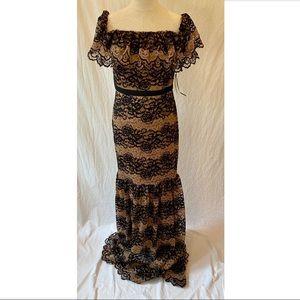 H Halston black/beige lace mermaid gown dress 8